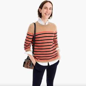 J Crew 100% Cashmere striped round neck jumper